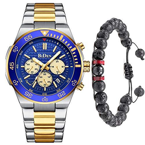 Herren Uhr Quarz Chronograph Wasserdicht 30M Edelstahl Uhren Business Mode Casual Sport Design Armbanduhr für Herren-Gold Blau