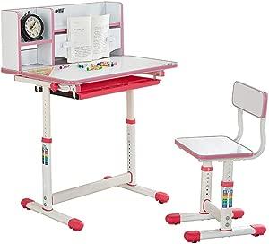 Kids Desk and Chair Set Childrens Study Desk Chair Table Set Tiltable Table And Chair For Kids Art Table Set Work Station  Color Pink