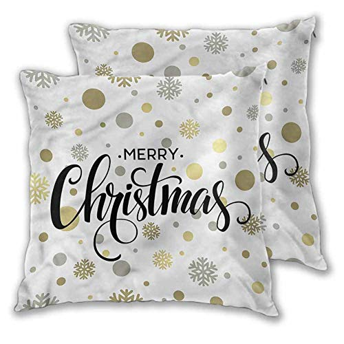 Xlcsomf Christmas Soft decorative pillowcase, 20 x 20 Inch Merry Xmas Snowflake Comfortable and soft Christmas decoration Set of 2