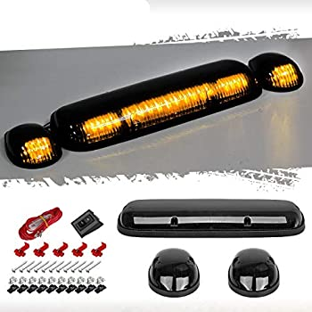 Partsam 3PCS 30LED Cab Marker Roof Running Lights Assembly Compatible with Silverado/ Sierra 1500 1500HD 2500 2500HD 3500 2002-2007 Trucks Lights + Wiring Pack
