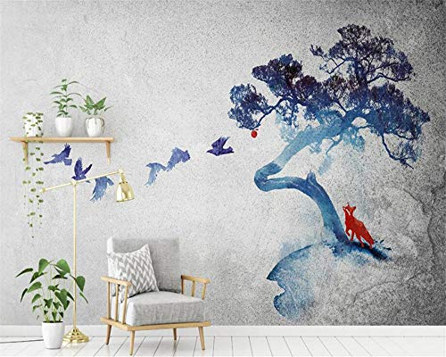 Modern 3D Wallpaper Personality Ink Landscape Tree Birds Room Background Wall