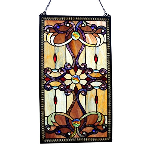 River of Goods Brandi Collection Stained Glass Panel: 26 Inch Decorative Window Hanging - Tiffany Style Framed Hangings for The Wall or Windows - Large Vertical Decoration in Brown, Amber and Yellow
