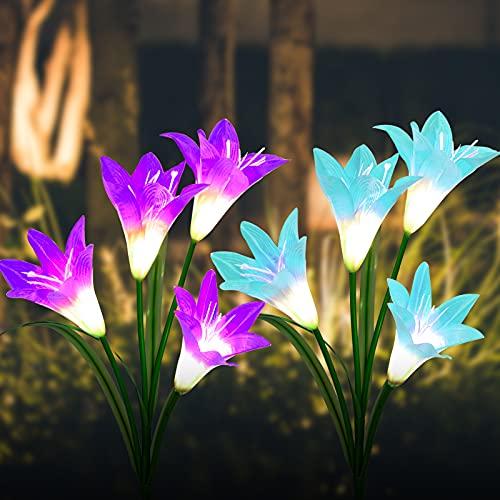 BASIWEI Outdoor Solar Garden Stake Lights, 2 Pack Solar Garden Lights with 8 Lily Flower, Waterproof Solar Powered Fairy Lights for Outdoor, Garden, Patio, Backyard(Purple and Blue)