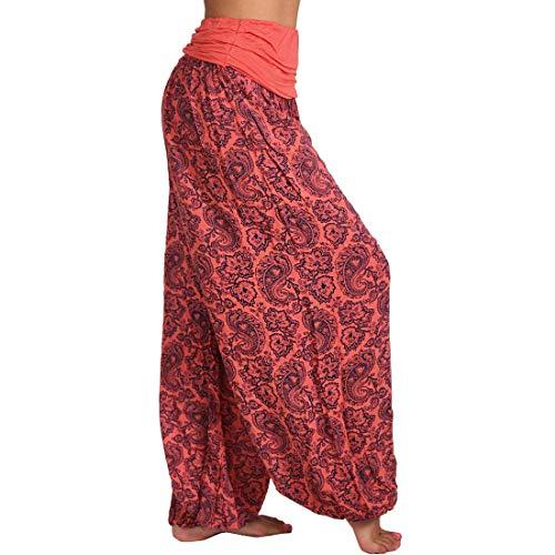 Tiop Pantalones de yoga holgados para mujer, pantalones bombachos, estilo bohemio, con bolsillos, para el tiempo libre, para verano, C#Rojo., XXXXL