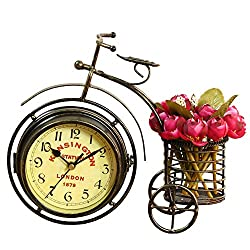 NEOTEND Handmade Vintage Bicycle Clock Bike Mute 2 Sided Table Clock