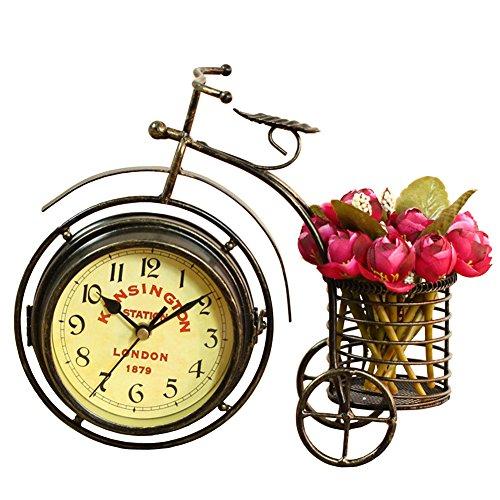 NEOTEND Handmade Vintage Bicycle Clock Bike Mute 2 Sided Table Clock