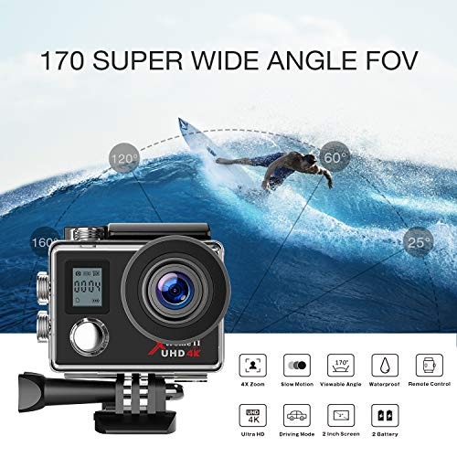 Campark Action Camera 4K WiFi Ultra HD Camera Underwater 30M 170°Wide-Angle Lens with Remote Control 2 Batteries and Mounting Accessories Kit