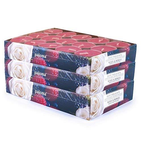 pajoma 90 Duft Teelichter 3x30 Stück Duftkerzen viele Düfte wählbar (Roses & Berries)