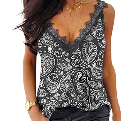osyare Las señoras de la moda Top sin mangas cómodo verano sin respaldo empalme diseño blusa jersey para relajarse gris L