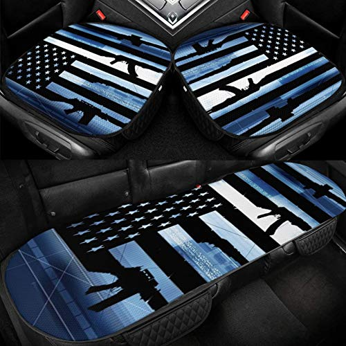 Yuniker American Flags and Guns Car Ice Cushion Universal Car Seat Protector Soft Cool Bottom Seat Covers 3 Pcs Non-Slip Cushion Mats for Car Truck SUV Van Mpv