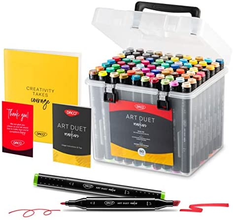 DACO Art Duet Alcohol Markers Art Set of 79 Colors 1 Blending Marker 1 Sketch Pad Travel Friendly product image