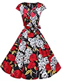 Vintage Formal Wedding Party Dress Butterfly Print Black Skull XS
