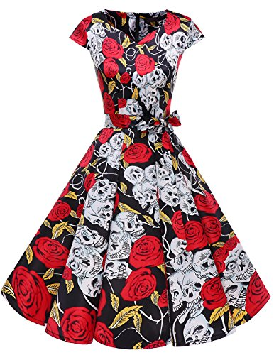 Dresstells Damen Vintage 50er Cap Sleeves Rockabilly Swing Kleider Retro Hepburn Stil Cocktailkleid Black Skull 2XL