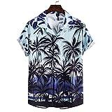 SCLDX Camisa Hawaiana para Hombre - Camisa De Playa De Verano Casual con Botones De Manga Corta Novedad 3D Árbol De Flores Impreso Estilo Bohemio Camisa Funky para Fiesta De Vacaciones Top Wear,