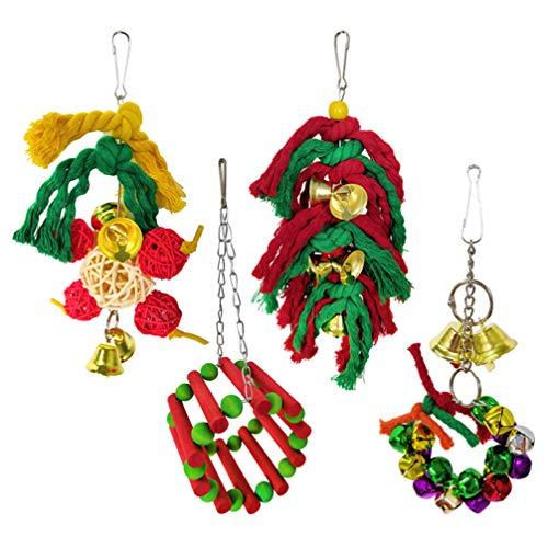 Balacoo Vogelspielzeug für Papageien, hängende Glocke, Vogelkäfig, Hängematte, Schaukelspielzeug, afrikanische Graue, Nymphensittiche, Hamster, Chinchilla, Kaninchen, 4 Stück
