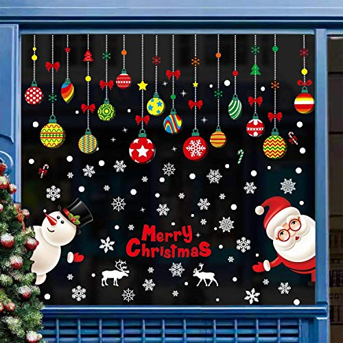 heekpek Adesivi Natale per finestre Natale Vetrofanie Rimovibile Adesivi Murali Fai da Te Finestra...