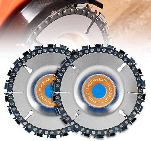Disco amoladora angular, 2 piezas de 22 dientes de acero para motosierra disco de talla de madera de 4 pulgadas para moldear, moler y cortar, se adapta a amoladoras de ángulo de 4 o 4-1/2