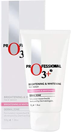 O3+ Brightening and Whitening Face Wash with Cucumber and Aloe Vera Extracts, 50g