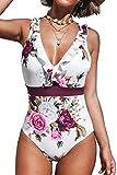 CUPSHE Women's V Neck Floral One Piece Swimsuit Ruffled Back Cross Swimwear, L