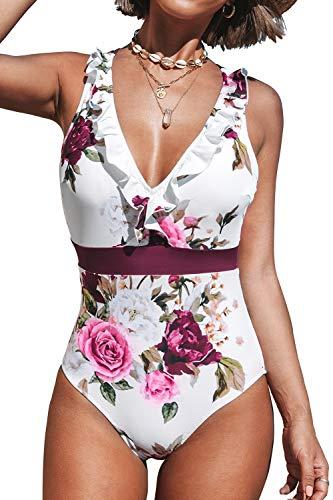 CUPSHE Damen Einteiler Badeanzug Rüschen V Ausschnitt Kreuzgurte Blumenmuster Strandmode Swimsuit Mehrfarbig M