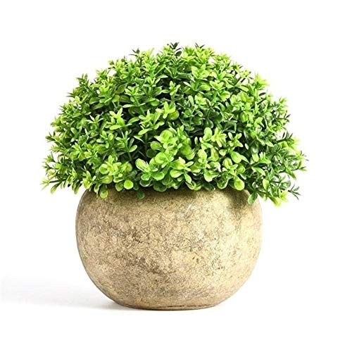MINGMIN-DZ Dauerhaft Bonsai Simulation Pflanzenornamente Vintage-Blumen-Grün Gras Pflanzen Kugel Plastiktopf Home Decoration (Color : Black)