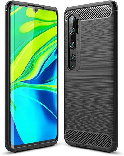 Capa Capinha Anti Impacto Para Xiaomi Mi Note 10 e Note 10 Pro Case Com Desenho Fibra De Carbono Shock Queda - Danet (Preto)