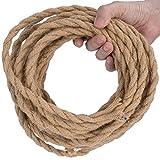 DiCUNO 10 Metri di cavo tessile in lino vintage, Cavo elettrico in tessuto flessibile a 2 conduttori da 0,75 mm² retrò, Corda intrecciata industriale per appendere e progetto fai-da-te