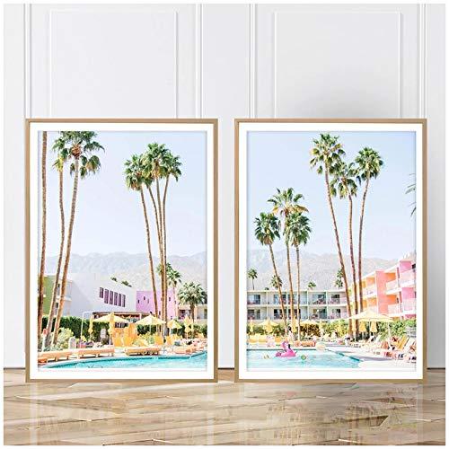 Cuadros modernosPaisaje Palmera Arte de la Pared Saguaro Hotel Pintura en Lienzo Nordic Springs Carteles e Impresiones Imágenes Tropicales para la Sala de Estar 15.7x19.7in (40x50cm) x2pcs SIN Marco
