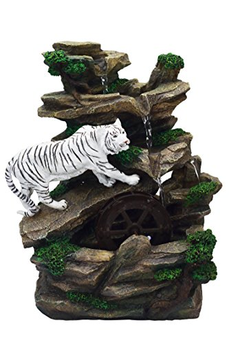OK Lighting 10.75' H White Tiger Table Fountain
