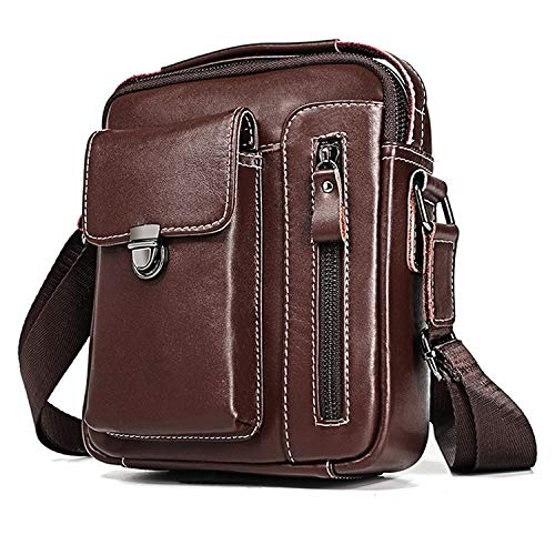 Buy QGT Bags 6029 Multifunctional Fashion Top-Grain Leather Messenger Bag Casual Men Shoulder Bag (B...