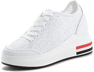 Zapatillas de Deporte de Plataforma para Mujer Tejido Transpirable de Moda Ahueca hacia Fuera PU con Cordones Bajo Superio...