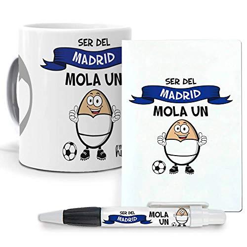 Pack Original y Personalizado para Regalo, Ideal para Hobby. Ser del Madrid me Mola un Huevo. Libreta, boligrafo y Taza Maxima Calidad.