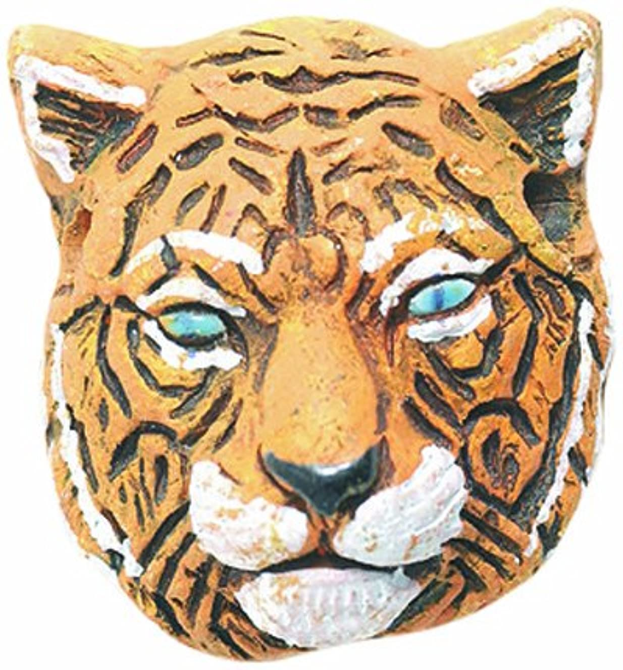 Shipwreck Beads 24 by 27mm Peruvian Hand Crafted Ceramic Tiger Face Beads, 3 Per Pack