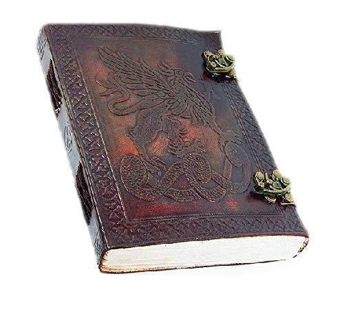 GnG - Diario in pelle grifone celtico realizzato a mano con drago, 15 x 20 cm