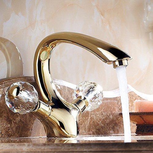 Hlluya Wasserhahn für Waschbecken Küche Die Gold-Kupfer Bad Kristall - Warmes und Kaltes Wasser Waschtisch Armatur