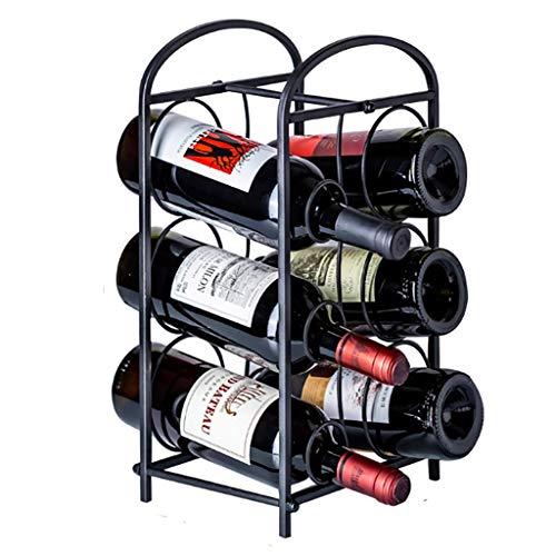 6 Bottle Wine Rack, 6 Bottiglia Free Standing mensola del Vino, Minimalista Design, Nero Vino Shelf Governo, for Decorazioni di Natale