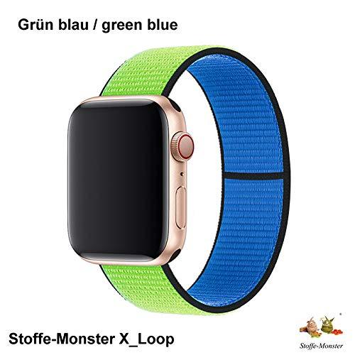 Stoffe-Monster X_Loop Watch Armband SportLoop Blue Green 42mm / 44mm