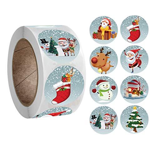 kashyk Weihnachtssticker 500 Weihnachtsaufkleber pro Rolle,Rund Selbstklebend Geschenkaufkleber Geschenksticker mit Weihnachtsbaum,Weihnachtsmann,Weihnachtssocken,Elch Muster fur DIY Party