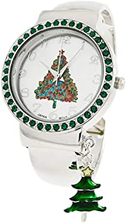 Rosemarie Collections Women's Crystal Accent Holiday Cuff Watch Bracelet with Charm