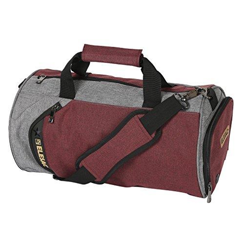 EleSac Turnbeutel mit Schuhfach für Damen und Herren, Segeltuch, rund, für Reisen, Sporttasche, Rotgrau (Mehrfarbig) - 17023-RED-GREYM