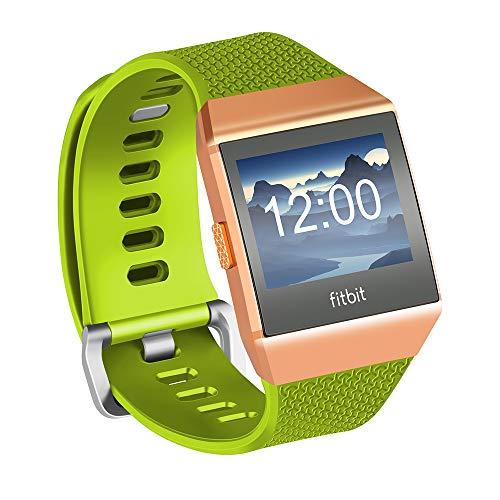 Fotover Ersatzarmband Kompatibel mit Fitbit Ionic,Einstellbar Atmungsaktiv Weiches TPU-Uhrenarmband Ersatzband for Fitbit Ionic Fitness Smartwatch mit Ionic Schutzfolie,Grün(L)