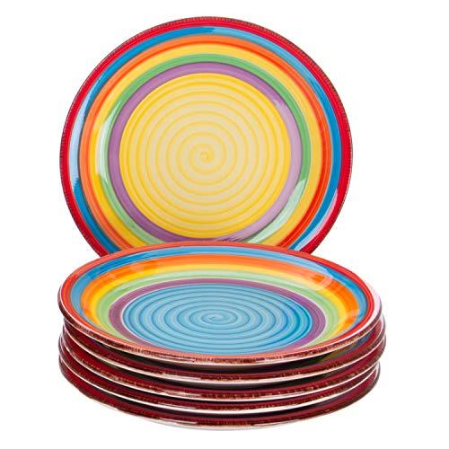 MamboCat 6-TLG. Kuchentellerset Ibiza kunterbunte Dessert-Teller Essteller klein Frühstücks-Buffet Servier-Platte rund Steingut-Geschirr Regenbogen Rainbow