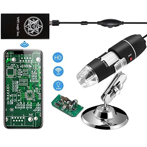 Jiusion WiFi USB Microscopio de Mano Digital Inalámbrico, 40X A 1000X Magnification Endoscopio 8LED Mini Cámara Con Ventosa Y Soporte De Metal Para iPhone iPad Mac Windows Android
