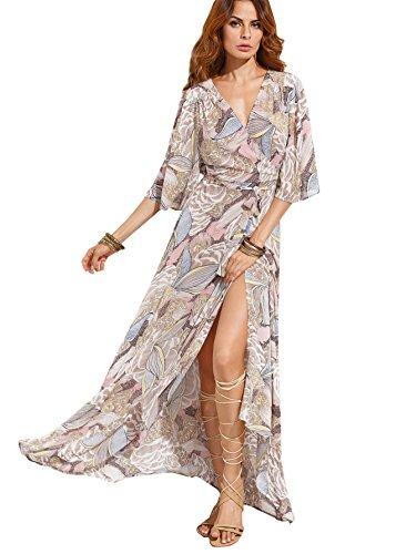 Milumia Women's Boho Split Tie-Waist Vintage Print Maxi Dress (Small, Grey-Pink)