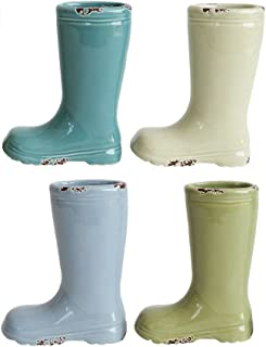 Creative Co-op Set of 4 Pastel Colored Spring Ceramic Stoneware Mini Boot Vases, Multicolor, 4
