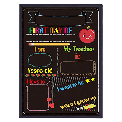 WaaHome First Day of School Chalkboard Style Sign 8.8'x12.2' Back to School Sign First Day of School Photo Prop Sign for Kids Girls Boys