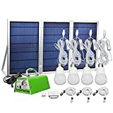 [30W Panel Foldable] GVSHINE Solar Panel Lighting Kit, Solar Home DC System Kit for Emergency, Hurricane, Power Outage with 4 USB Solar Charger LED Light Bulb and 5 Cellphone Charger/5V 2A Output