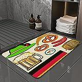 Tappetino da bagno antiscivolo 50X80 cm, tappetino da bagno morbido e assorbente,Oktoberfest Simbolo Salsiccia di frumento Birra e salatini Disposizione bavarese coloAdatto per bagno, doccia e bagno