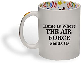 Ceramic Christmas Coffee Mug Home Is Where The Air Force Sends Us Funny Tea Cup