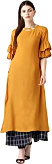 RADANYA Indian Women Ethnic Kurti Kurta Designer Bollywood Yellow Tunic Casual Wear Dress